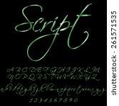 metallic green script font | Shutterstock .eps vector #261571535