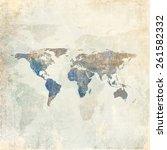 grunge background with world map | Shutterstock . vector #261582332