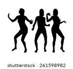 silhouette of dancing girls.... | Shutterstock .eps vector #261598982