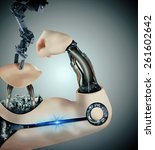 cyborg arm in assembly line... | Shutterstock . vector #261602642