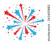 big red and blue firework on... | Shutterstock .eps vector #261605882
