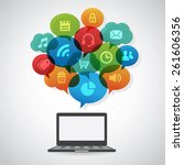 social media speech bubbles  ... | Shutterstock .eps vector #261606356