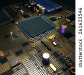 electronic circuit chip on pc... | Shutterstock . vector #261623546
