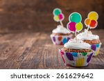 chocolate cupcakes with cream... | Shutterstock . vector #261629642