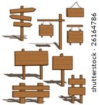 set of wood signs   shadows on... | Shutterstock .eps vector #26164786