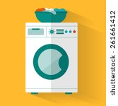 washing machine with basket.... | Shutterstock .eps vector #261661412