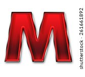 metal letter m in red isolated... | Shutterstock . vector #261661892