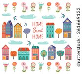 colorful houses collection.... | Shutterstock .eps vector #261669122