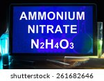 Small photo of Tablet with chemical formula of ammonium nitrate.