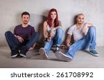 skateboarder friends against... | Shutterstock . vector #261708992