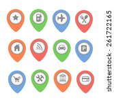 set of  map pointers with icons ...   Shutterstock . vector #261722165