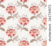 seamless vector floral... | Shutterstock .eps vector #261734072