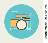 drum icon. flat design | Shutterstock .eps vector #261734696