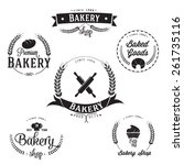 vintage retro bakery labels set | Shutterstock .eps vector #261735116
