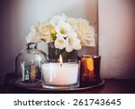 bouquet of white flowers in a... | Shutterstock . vector #261743645