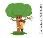 Child Hugging Tree  Vector...