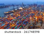 industrial port with containers | Shutterstock . vector #261748598