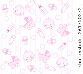 sweet pink baby girl elements... | Shutterstock .eps vector #261750272
