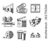 cinema icons set  megaphone ... | Shutterstock . vector #261753266