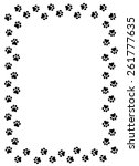 Dog Paw Prints Border On White...