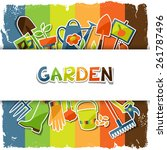 background with garden sticker... | Shutterstock .eps vector #261787496