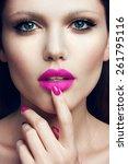 portrait of beautiful girl with ... | Shutterstock . vector #261795116