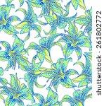 seamless floral pattern. garden ... | Shutterstock . vector #261802772