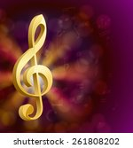 golden musical key with notes  | Shutterstock . vector #261808202