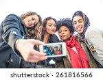 group of attractive young women ...   Shutterstock . vector #261816566