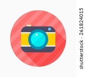 camera flat icon with long...
