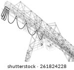 gantry crane. wire frame.... | Shutterstock .eps vector #261824228