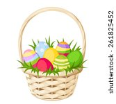 Easter Colorful Eggs In Basket. ...