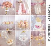 collage of photos with wedding...   Shutterstock . vector #261832412