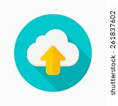 cloud upload flat icon with...