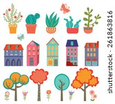 colorful cute city collection   ... | Shutterstock .eps vector #261863816