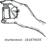 sketch of usb flash drive  ... | Shutterstock .eps vector #261870035