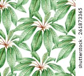 Tropical leaves seamless watercolor pattern