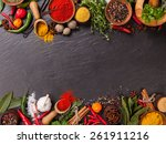 various spices on black stone... | Shutterstock . vector #261911216
