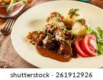 goulash with boiled potatoes... | Shutterstock . vector #261912926
