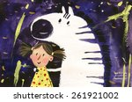 Watercolor Zebra And Girl