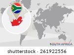 world map with magnified south... | Shutterstock .eps vector #261922556