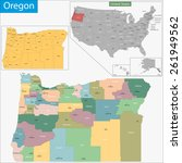 map of oregon state designed in ... | Shutterstock .eps vector #261949562