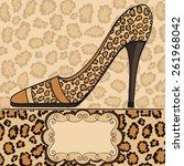 shoe with leopard pattern....   Shutterstock .eps vector #261968042