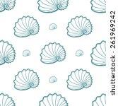 spiral sea shells on white... | Shutterstock .eps vector #261969242