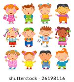 12  kids different nations.... | Shutterstock .eps vector #26198116