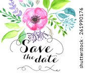 save the date calligraphy text... | Shutterstock .eps vector #261990176