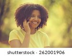 young woman talking on phone ... | Shutterstock . vector #262001906