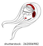 young girl is listening music... | Shutterstock . vector #262006982