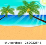 tropical beach with palm trees  | Shutterstock .eps vector #262022546