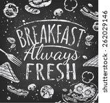 breakfast poster chalkboard.... | Shutterstock .eps vector #262029146